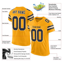 Load image into Gallery viewer, Custom Gold Navy-White Mesh Authentic Football Jersey