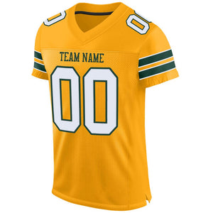 Custom Gold White-Green Mesh Authentic Football Jersey