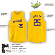 Load image into Gallery viewer, Custom Gold Purple Round Neck Basketball Jersey