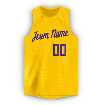 Custom Gold Purple Round Neck Basketball Jersey