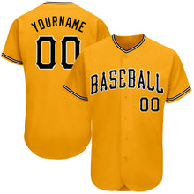 Load image into Gallery viewer, Custom Gold Black-White Authentic Baseball Jersey