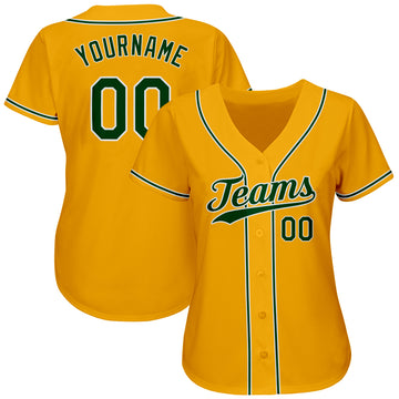 Custom Gold Green-White Authentic Baseball Jersey