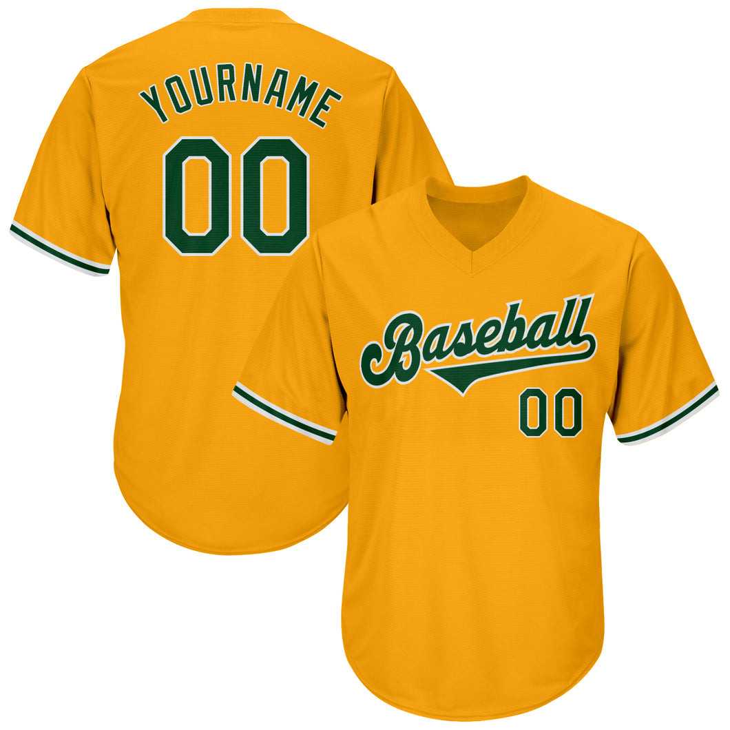 Custom Gold Green-White Authentic Throwback Rib-Knit Baseball Jersey Shirt
