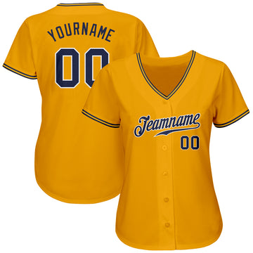 Custom Gold Navy-White Authentic Baseball Jersey