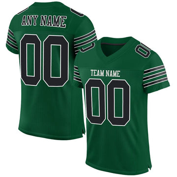 Custom Gotham Green Black-White Mesh Authentic Football Jersey