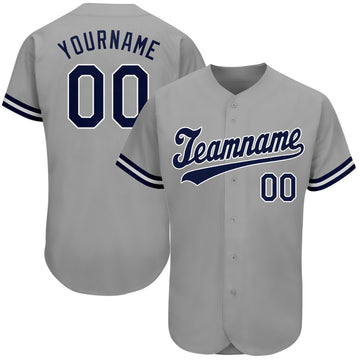 Custom Gray Navy-White Authentic Baseball Jersey