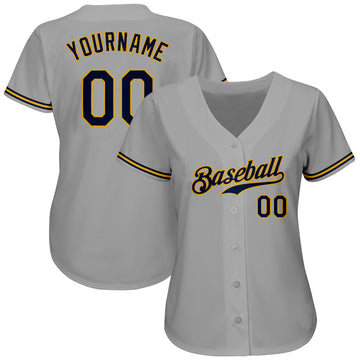Custom Gray Navy-Old Gold Authentic Baseball Jersey