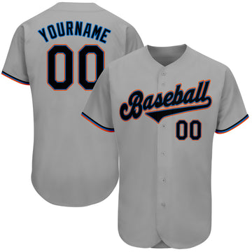 Custom Gray Black-Light Blue Authentic Baseball Jersey