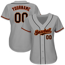 Load image into Gallery viewer, Custom Gray Black-Orange Authentic Baseball Jersey