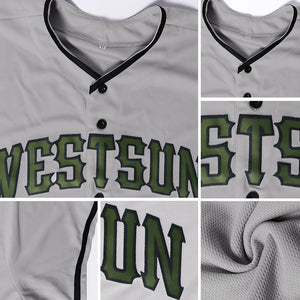 Custom Gray Olive-Black Authentic Memorial Day Baseball Jersey