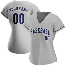Load image into Gallery viewer, Custom Gray Navy-White Authentic Baseball Jersey