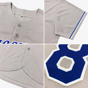 Custom Gray Black-Powder Blue Authentic Baseball Jersey