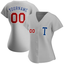Load image into Gallery viewer, Custom Gray Red-Royal Authentic Baseball Jersey