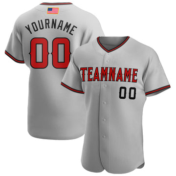 Custom Gray Red-Black Authentic American Flag Fashion Baseball Jersey