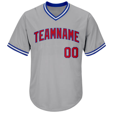 Custom Gray Red-Royal Authentic Throwback Rib-Knit Baseball Jersey Shirt