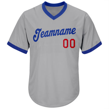 Custom Gray Royal-Red Authentic Throwback Rib-Knit Baseball Jersey Shirt