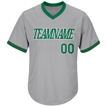 Custom Gray Kelly Green-White Authentic Throwback Rib-Knit Baseball Jersey Shirt