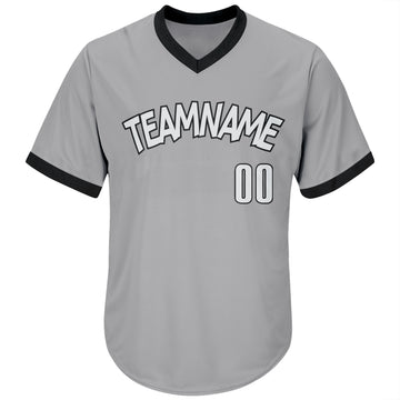 Custom Gray White-Black Authentic Throwback Rib-Knit Baseball Jersey Shirt