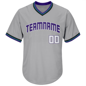 Custom Gray White-Purple Authentic Throwback Rib-Knit Baseball Jersey Shirt
