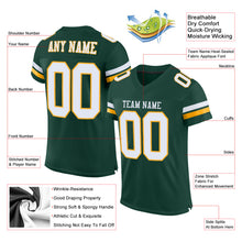 Load image into Gallery viewer, Custom Green White-Gold Mesh Authentic Football Jersey