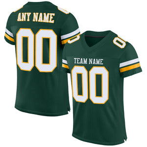 Custom Green White-Gold Mesh Authentic Football Jersey