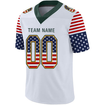 Custom White Green-Gold USA Flag Fashion Football Jersey