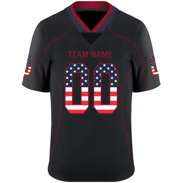 Custom Lights Out Black Red-Navy USA Flag Fashion Football Jersey