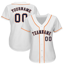 Load image into Gallery viewer, Custom White Navy-Orange Baseball Jersey