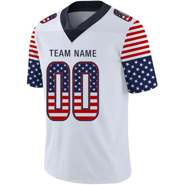 Custom White Navy-Red USA Flag Fashion Football Jersey