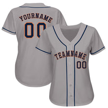 Load image into Gallery viewer, Custom Gray Navy-Orange Baseball Jersey