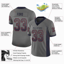 Load image into Gallery viewer, Custom Gray Navy-Red Mesh Drift Fashion Football Jersey