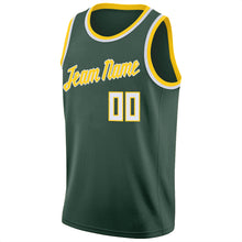Load image into Gallery viewer, Custom Hunter Green White-Gold Round Neck Rib-Knit Basketball Jersey