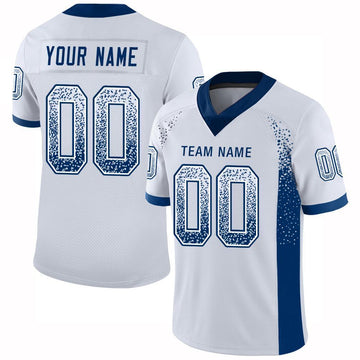 Custom White Royal Mesh Drift Fashion Football Jersey