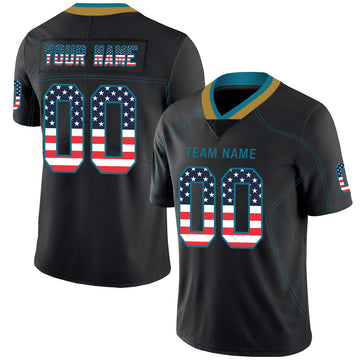 Custom Lights Out Black Teal-Old Gold USA Flag Fashion Football Jersey