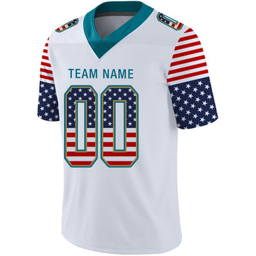 Custom White Teal-Old Gold USA Flag Fashion Football Jersey
