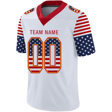 Custom White Scarlet-Gold USA Flag Fashion Football Jersey