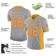 Load image into Gallery viewer, Custom Light Gray Gold-Scarlet Mesh Drift Fashion Football Jersey