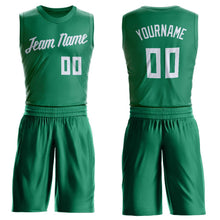 Load image into Gallery viewer, Custom Kelly Green White Round Neck Suit Basketball Jersey
