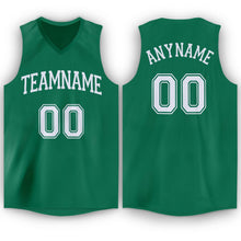 Load image into Gallery viewer, Custom Kelly Green White V-Neck Basketball Jersey