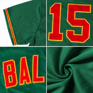 Custom Kelly Green White-Gold Authentic Baseball Jersey