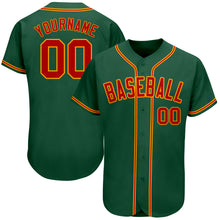 Load image into Gallery viewer, Custom Kelly Green Red-Gold Authentic Baseball Jersey