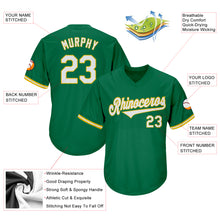 Load image into Gallery viewer, Custom Kelly Green White-Gold Authentic Throwback Rib-Knit Baseball Jersey Shirt