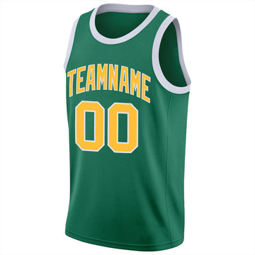 Custom Kelly Green Gold-White Round Neck Rib-Knit Basketball Jersey