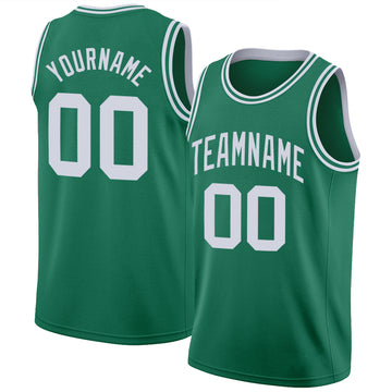 Custom Kelly Green White Round Neck Rib-Knit Basketball Jersey