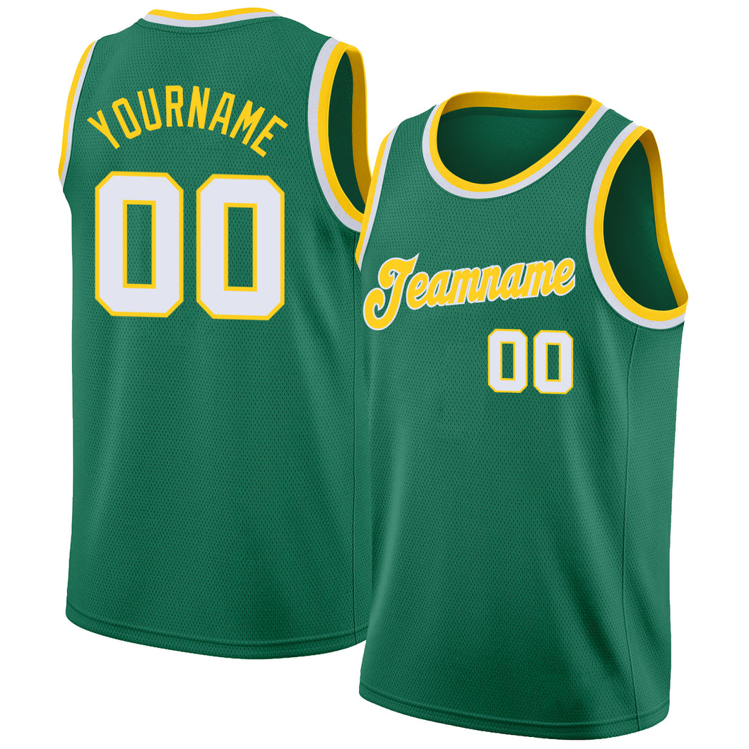 Custom Kelly Green White-Gold Round Neck Rib-Knit Basketball Jersey