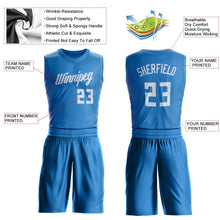 Load image into Gallery viewer, Custom Blue White Round Neck Suit Basketball Jersey