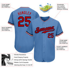 Load image into Gallery viewer, Custom Light Blue Red-Navy Authentic Baseball Jersey