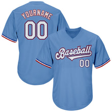 Load image into Gallery viewer, Custom Light Blue White-Red Authentic Throwback Rib-Knit Baseball Jersey Shirt