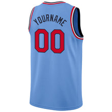 Load image into Gallery viewer, Custom Light Blue Red-Navy Round Neck Rib-Knit Basketball Jersey