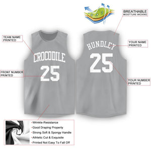 Custom Silver Gray White Round Neck Basketball Jersey